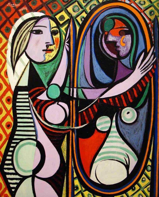 Jeune femme au miroir Picasso