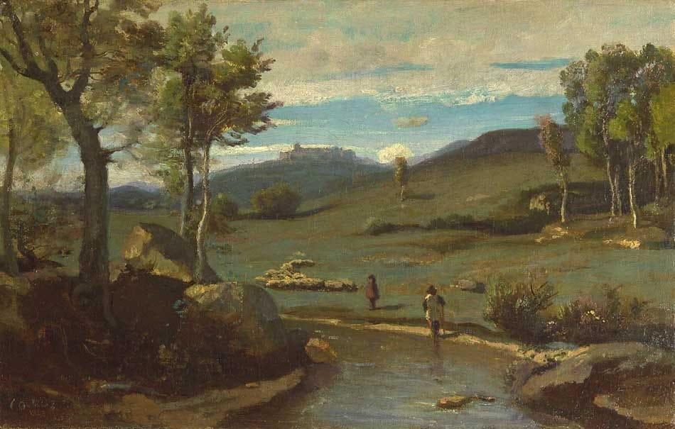Jean-Baptiste_Camille_Corot_-_Campagne_Romaine_–_Vallée_rocheuse_avec_un_troupeau - 1827-1828